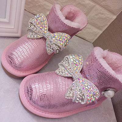 Rhinestone Bowtie Snow Boots Women s Genuine Leather Winter Boots Waterproof Parent child Girls Warm Boots