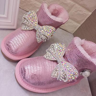 Rhinestone Bowtie Snow Boots Women's Genuine Leather Winter Boots Waterproof Parent-child Girls Warm  Boots Fashion Kids Shoes