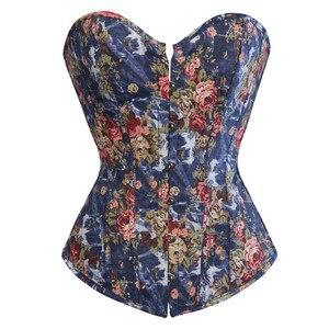 Image 1 - Fashion Corset Womens Vintage Floral Denim Corset Bustie Overbust Burlesque Sexy Lingerie Top Waist Cincher Body Shaper Blue