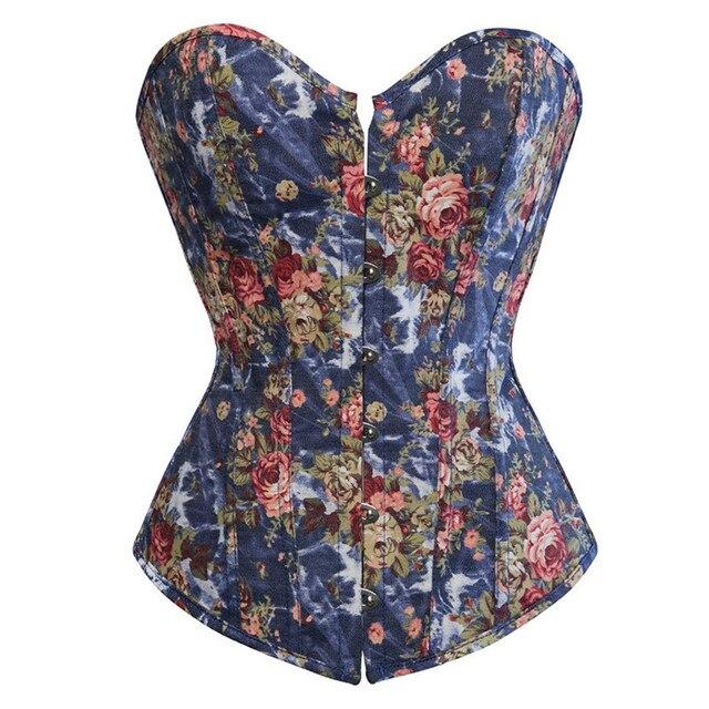 Fashion Corset Womens Vintage Floral Denim Corset Bustie Overbust Burlesque Sexy Lingerie Top Waist Cincher Body Shaper Blue
