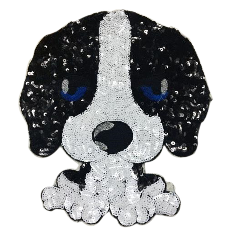 Sequins patch 29cm french bulldog deal with it iron on patches for clothing 3d t shirt mens, t shirt Women, baby girl clothes