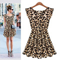 New 2015 Sexy Women Casual Dress Plus Size Leopard Print Sleeveless Ruffles Evening Party Dresses Girl Sundress Vestidos B003