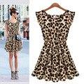 Novo 2015 Sexy mulheres vestido Plus Size leopardo impressão sem mangas Ruffles Vestidos de festa vestido de verão Vestidos B003