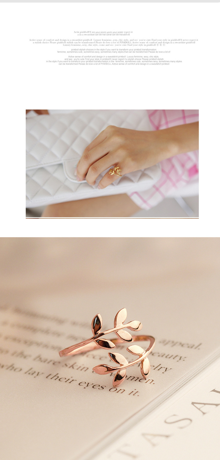 Charms Two colors Olive Tree Branch Leaves Open Ring for Women Girl Wedding Rings Adjustable Knuckle Finger Jewelry Xmas 9