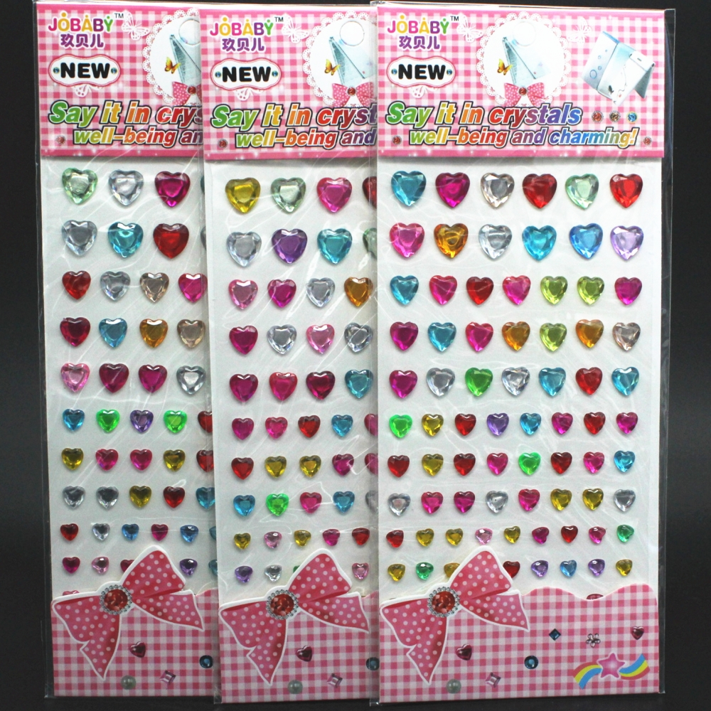 Acrylic Rhinestone Crystal Heart Decoration Stickers Crystal Diamond 3D Kids DIY Cute Children toys Self Adhesive Stickers
