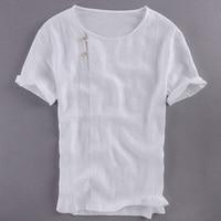 Chinese Style Suehaiwe S Brand Short Sleeve Linen T Shirt Men Solid White Summer T Shirt