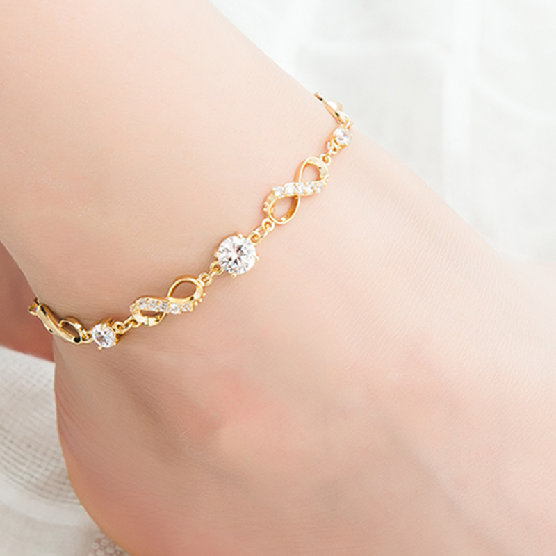 Fashion Bohemian Women Anklet Gold Silver Leg Chain Big Rhinestone Anklets Barefoot Crochet Sandals Beads Foot Jewelry