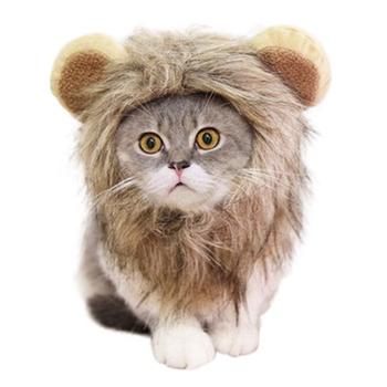 Akcesoria do włosów dla zwierząt domowych element ubioru z uszami impreza z okazji halloween festiwal przebranie na karnawał w kształcie lwa peruka z grzywą kapelusz dla kota lub dla małych psów tanie i dobre opinie TAILUP Acrylic Fibres
