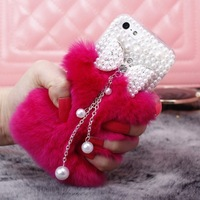 Real Rabbit Fur Case For iPhone 5c Hot New Fashion Luxury Tassel Bowknot Case For iPhone 5c Cover,1/pc Free Shipping