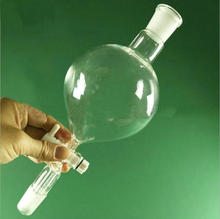1 sztuk 60ml 150ml 250ml 500ml w kształcie kuli jasne szkło laboratoryjne oddzielające lejek z uziemieniem w ustach 19 #24 # PTFE korek