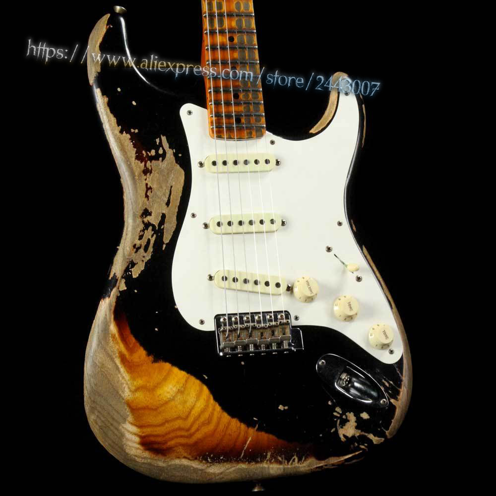 GC Custom Shop 1957 Swamp Ash Body Heavy Relic Black over 2 Color Sunburst Electric Guitar gc custom shop masterbuilt eric johnson relic electric guitar 2 color sunburst