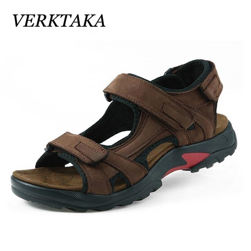 2018 men sandals summer genuine leather non-slip beach shoes men cow leather sandals good quality plus size 38-48