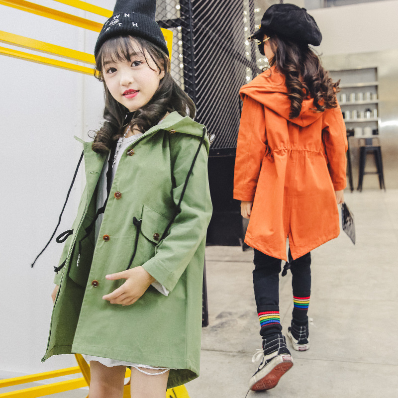Spring Trench Coat For Girls 4 5 6 7 8 9 10 11 12 13 Years Teenagers Jackets For Girls 2018 Kids Solid Fashion Hooded Outwear цена 2017