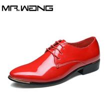 Brand new arrive mens patent leather shoes men dress shoes lace up Pointed toe flats with Heighten 5 colors big size 38-48 AA-01