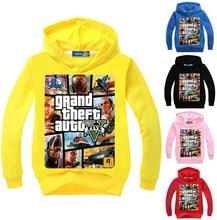 2017 Newest GTA 5 Boys Jacket Girls Hoodies and Sweatshirts Hooded Kids Casual Fashion Clothing Cartoon Printing Coat Outwear