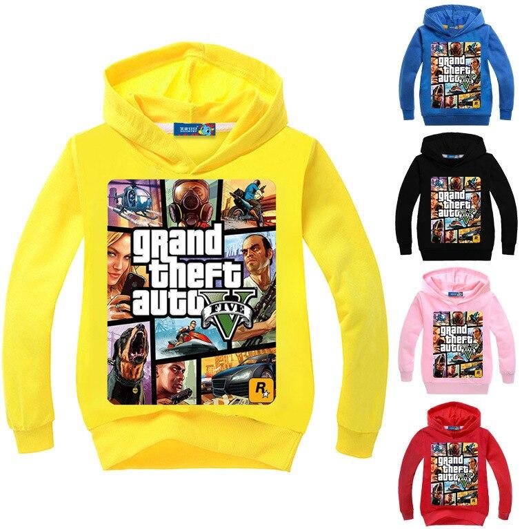 2017 neueste GTA 5 Jungen Jacke Mädchen Hoodies und Sweatshirts Mit Kapuze Kinder Casual Mode Bekleidung Cartoon Druck Outwear