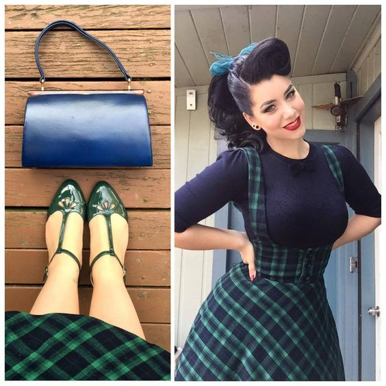 5be861cafb 40- women vintage 50s high waist swing circle suspender skirt in green tartan  plus size falda rockabilly overalls brac skirts