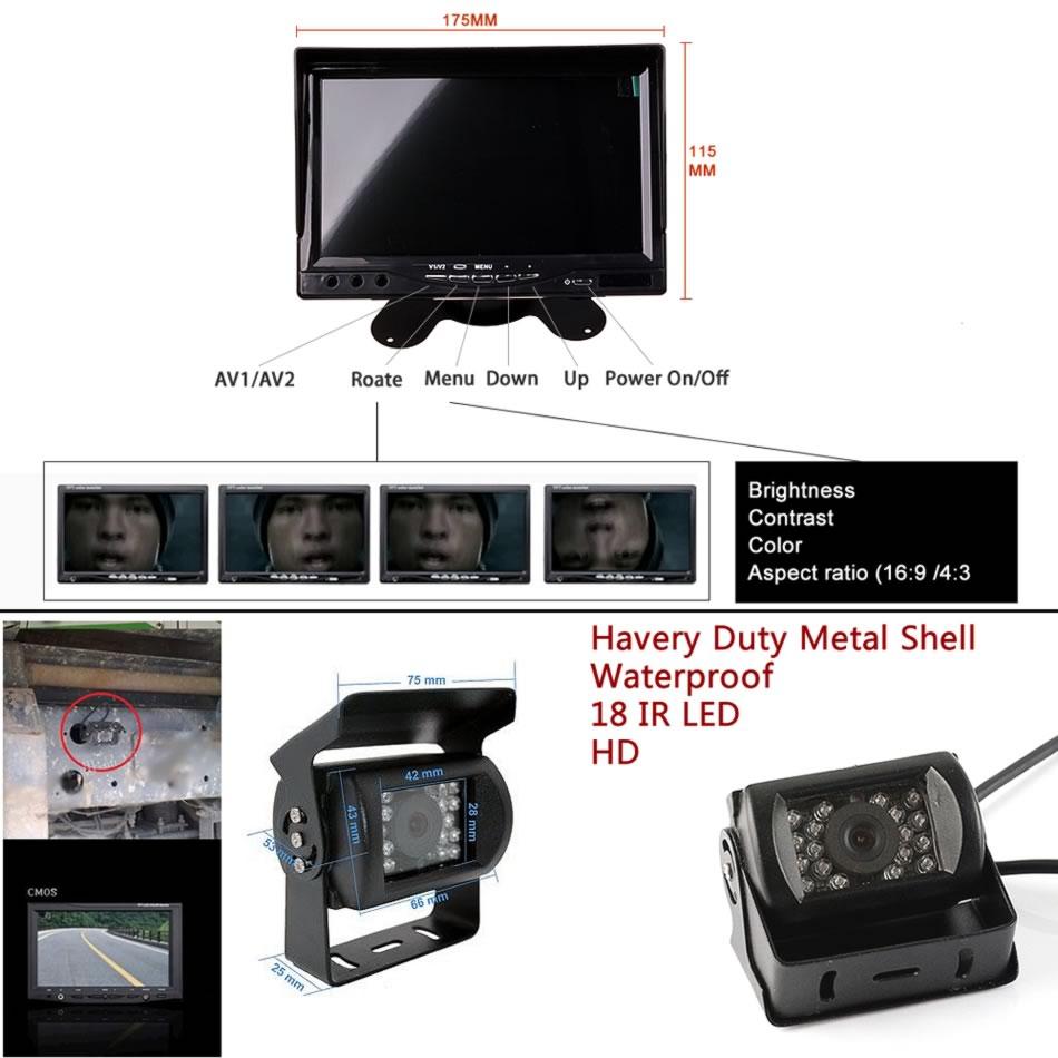 Alətlər paneli tək başına 12V 24V 7 düymlük HD LCD Dayanacaqda - Avtomobil elektronikası - Fotoqrafiya 3