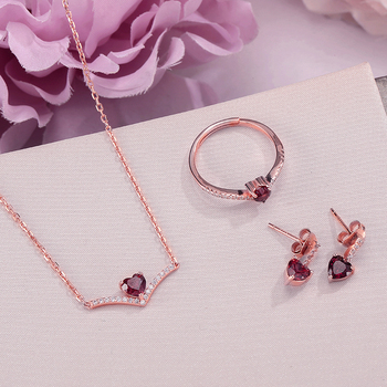 LAMOON Sets for Women Fine Jewelry S925 Sterling Silver 100% Natural Heart Cut Red Garnet Stud Earrings Ring Necklace Set V004-2