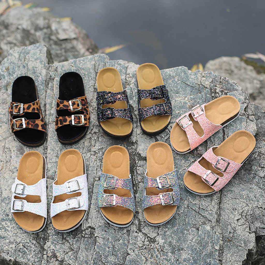 2019 HOT Fashion Women's Sequins Double Buckle Flat Beach Slippers Fashion Thick Bottom Sandals Bling leisure Outdoor Indoor