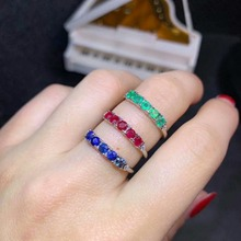 shilovem 925 silver sterling real Natural sapphire Emerald ruby Rings fine Jewelry party trendy open ring new dj0303aglaghagml leige jewelry ruby vintage rings ruby rings july birthstone emerald cut red stone rings real 925 sterling silver elegant rings