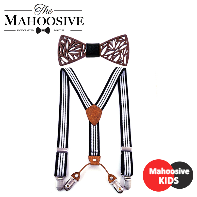 Wooden Kids Bow Tie For Boys Wedding Matching Striped Braces Boys Baby Suspenders Bow Tie Set Braces Belt