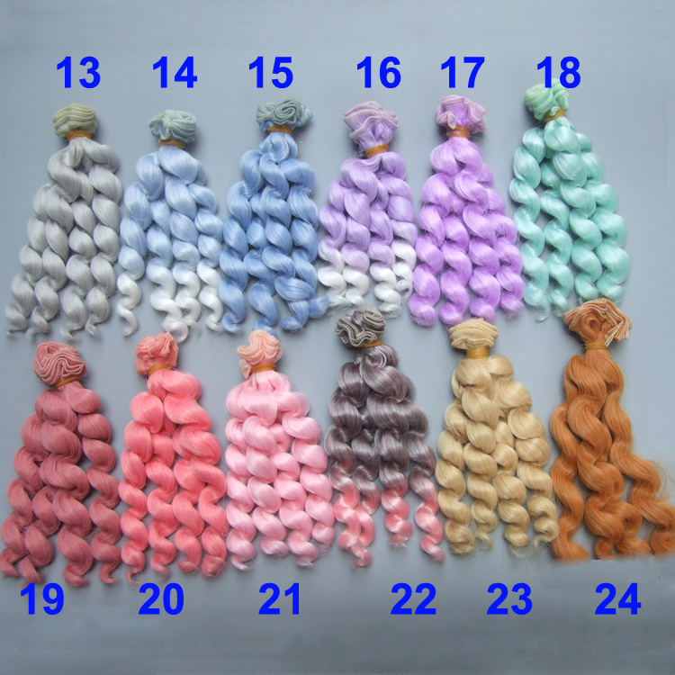 factory  wholesales 15 cm pink green purple BJD/SD thick Doll Wigs/hair DIY curly hair wig for 1/3 1/4 bjd doll 25cm 100cm doll wigs hair heat resistant bjd wigs blue red brown green straight wig thick hair for 1 3 1 4 bjd diy