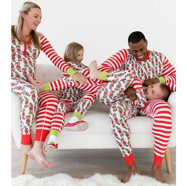 43cd3c35c4 Emmababy 2018 Family Matching Christmas Pajamas Set Women Baby Kids Elf  Sleepwear Cartoon Nightwear Family Matching