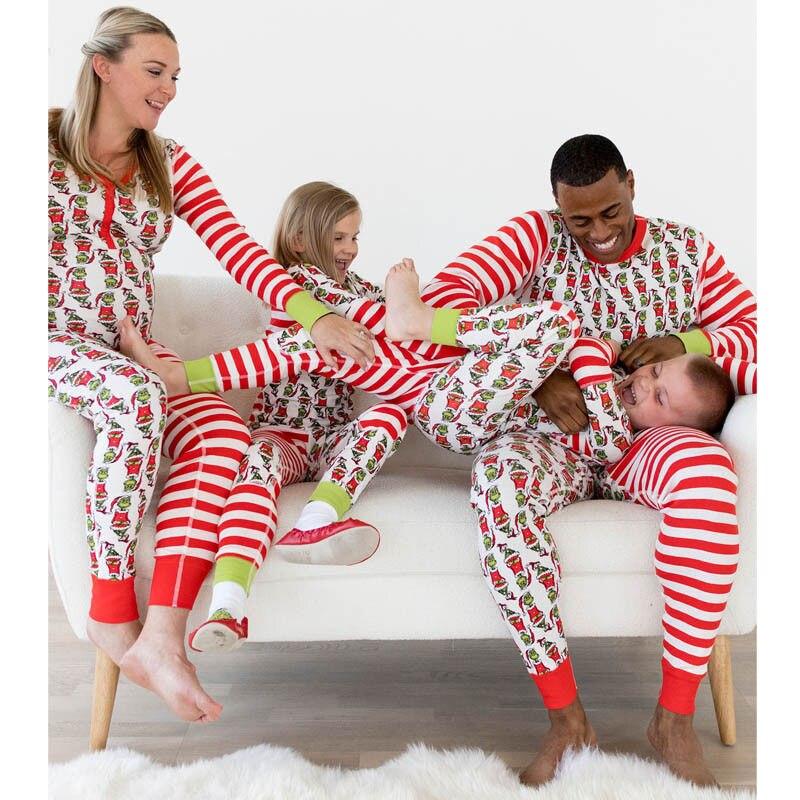 Emmababy 2018 familia pijamas de Navidad Set mujeres niños bebé Elf ropa de dormir Cartoon Nightwear familia ropa a juego