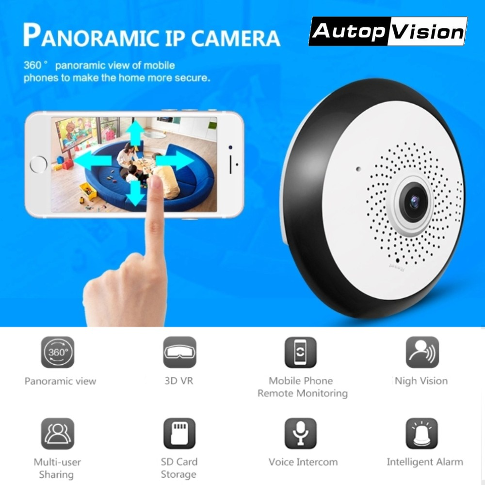 1080 P caméra HD IP Fisheye Panorama IR Vision nocturne caméra HD Wifi 360 degrés vue complète caméra de Surveillance de sécurité à domicile