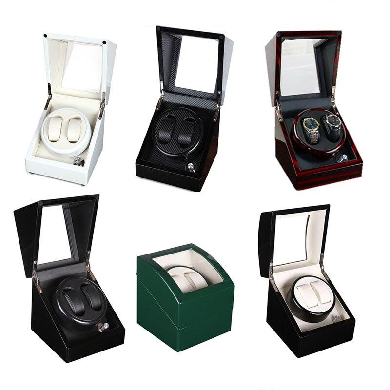 2+0 Full Color Wooden Automatic Watch Winder Remontoir Montre Automatique Caja Fuerte Watches Automatic Relogio Box Hour Winder