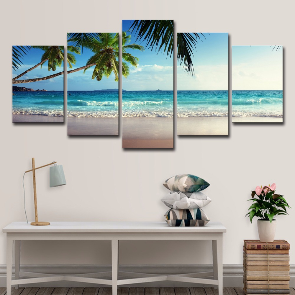 5P0061 Pictures Frame Home Decor Printed Poster 5 Pieces Coconut Tree Blue Sky And Ocean Beach Seascape Wall Art Canvas Painting PENGDA (13)