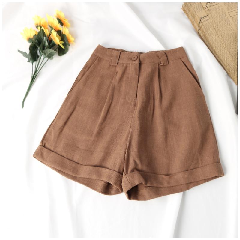 3 S весной и летом высокой талии Лен Шорты Женская Дикий широкие брюки стрейч тонкий хлопок повседневные шорты sga426 Cherry