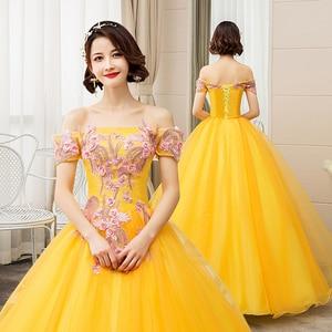 Image 2 - EZKUNTZA New Quinceanera Dresses Gold Off The Shoulder Flower Ball Gown Party Prom Quinceanera Gown Vestidos De Quincea Era 2019