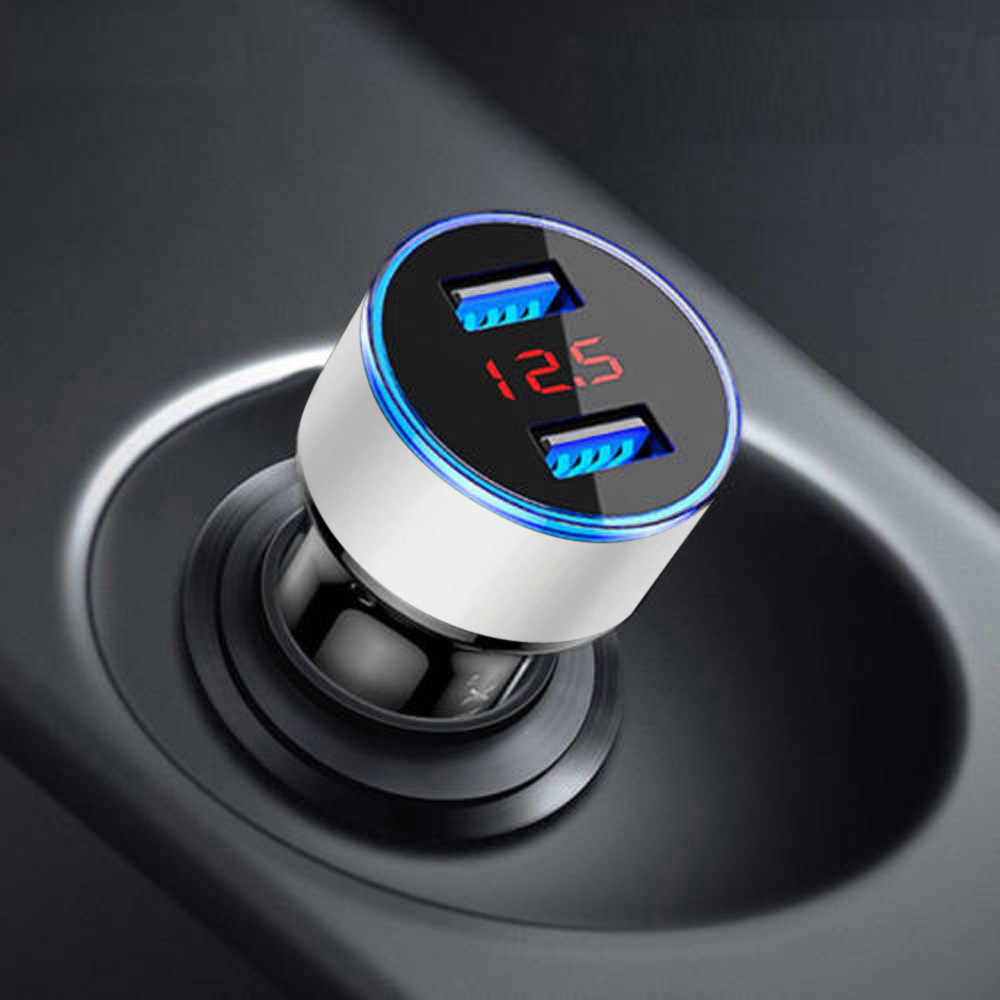 3.1A Dual USB Car Charger 2 Port LCD Display 12-24V Cigarette Socket Lighter for Phone  a24