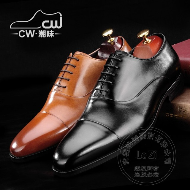 Bespoke Genuine Leather Exquisite Mens Oxfords  Manual Polish Prom Italian Soft Leather Men Dress Shoes  Appointment Solid