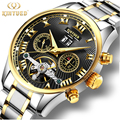 Business Calendar Mens Watch Automatic Mechanical Tourbillon Waterproof Watches Skeleton Gold Self-Wind Stainless Steel Man Hour