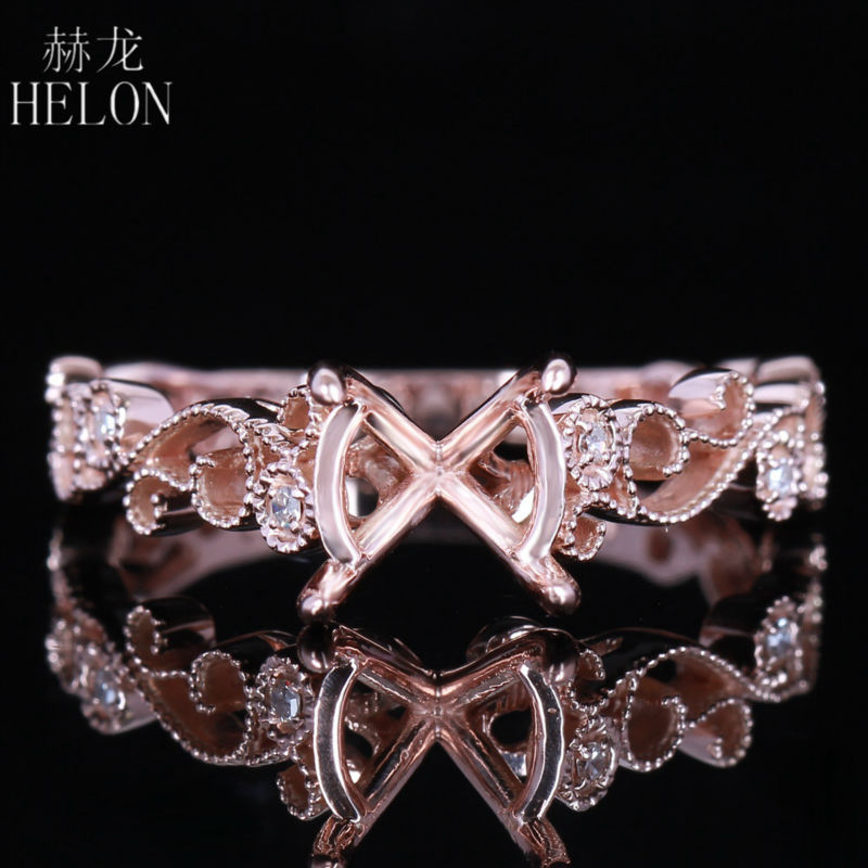 HELON Art Deco Antique 7mm 8mm Round Solid 14K 585 Rose Gold Pave Diamonds Engagement Wedding