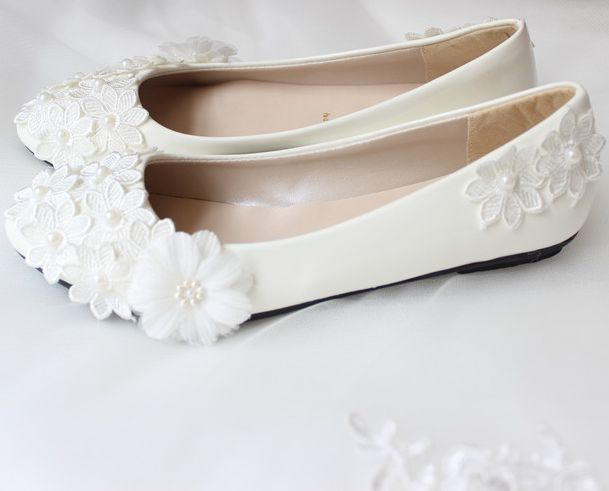 100% handmade womens wedding flats shoes TG219 lace flowers sweet bridal shoes bridesmaid party dance flats big discount on sale