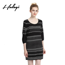 Hodoyi геометрическим принтом женское платье Цвет Block Crew Средства ухода за кожей шеи пуловер вязаный Vestidos Половина рукава Повседневное Сладкий мини-платье