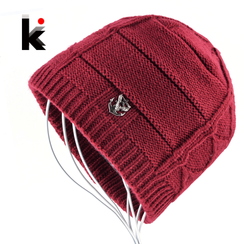 2018 New Winter Hats Knitted Wool   Skullies     Beanies   For Men Hip Hop Caps Boys Add Velvet Outdoor Casual Knit Warm Touca Inverno