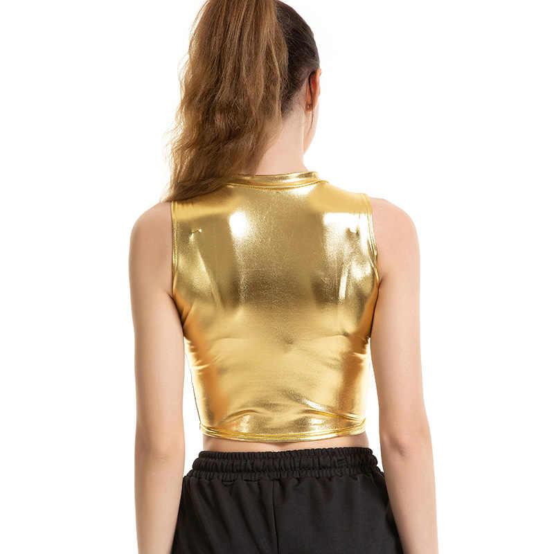 CHSDCSI, летние короткие топы для женщин, высокая уличная мода, сексуальный топ на бретелях, тонкий укороченный Блестящий жилет без рукавов, Панк укороченный Золотой Топ на бретелях