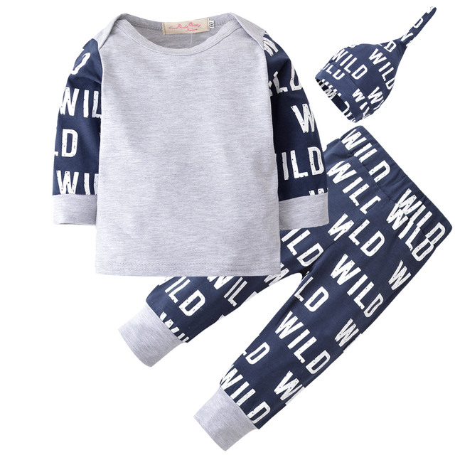 38afc62260c49 Baby Clothing Set Long Sleeve Fashion Letter Wild Printing T-shirt+Pants+Hat  Toddler 3pcs/suit Outfit Newborn Baby Boy Clothes