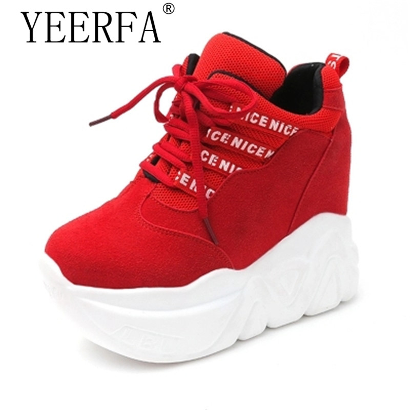 YIERFA 2017 Wedges PU Shoes Woman Platform Shoes Hidden Heel Height Increasing Casual Shoes female chaussure femme Size 34-39 women sandals 2017 summer style shoes woman wedges height increasing fashion gladiator platform female ladies shoes casual
