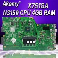Akemy X751SA 4 cores N3150 CPU 4GB RAM Laptop motherboard For ASUS X751S X751SJ X751SV mainboard Tested Working