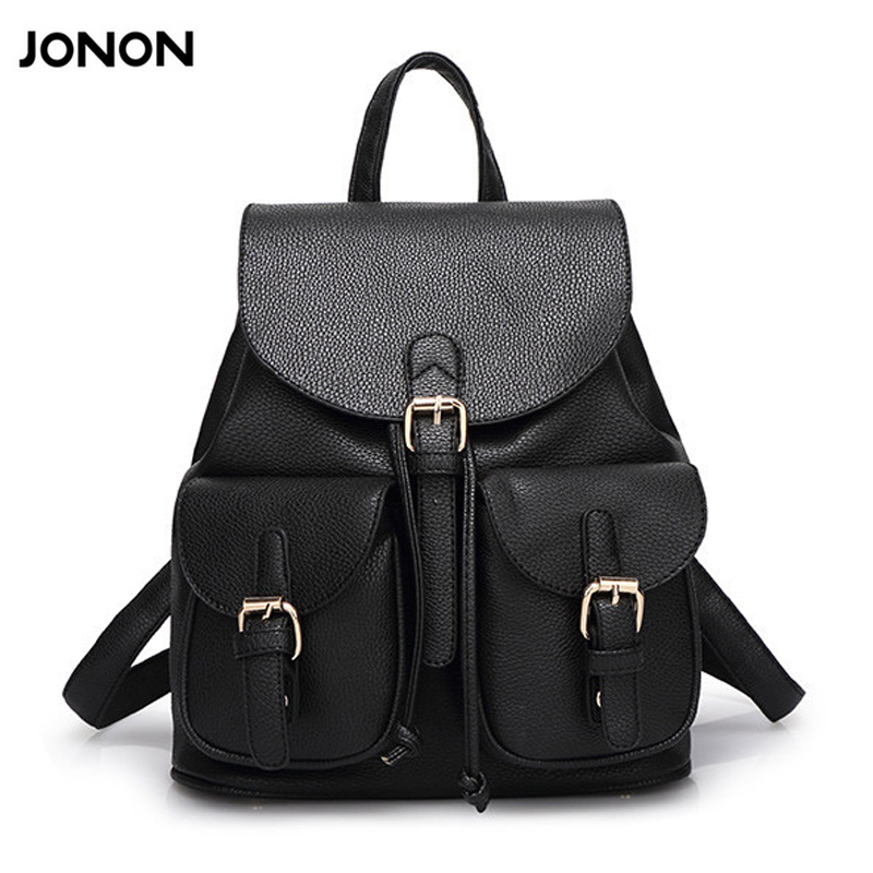 JONON Women Leather Backpack Black Bolsas Mochila Feminina Large Girl Schoolbag Travel Bag Solid Candy Color Pink Beige  new women leather backpack black bolsas mochila feminina girl schoolbag travel bag solid candy color green pink beige