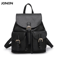 JONON Women Leather Backpack Black Bolsas Mochila Feminina Large Girl Schoolbag Travel Bag Solid Candy Color