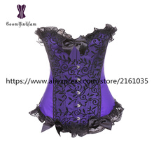 851# Bustiers & Corsets waist Slimming Appliques Shapewear Intimates Bodysuit purple and black brocade corset with G string