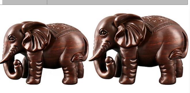 Ménage ébène sculpture sur bois de bon augure éléphant décoration en bois animal attirer ensemble décoration maison sculpture statue