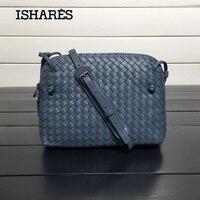 ISHARES Sheepskin Woven Luxury Crossbody Bags Women Girls Messenger Handmade Designer Top Quality Lambskin Bags Fashion